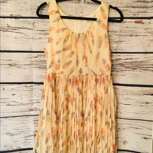 Forever 21 Feather-accent, pleated dress. Size L